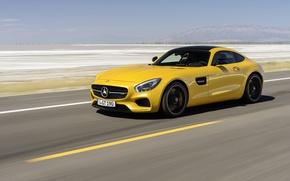 Картинка машина, авто, желтый, пустыня, купе, Mercedes-Benz, шоссе, Mercedes, спорткар, мерседес, AMG, 2014, Mercedes-AMG GT