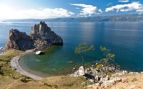 Картинка фото, Природа, Озеро, Скала, Байкал, Россия, Пейзаж, Побережье, Baikal