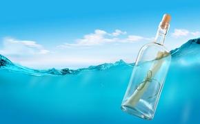 Картинка море, письмо, вода, бутылка, пробка, верёвка, послание, письмо в бутылке