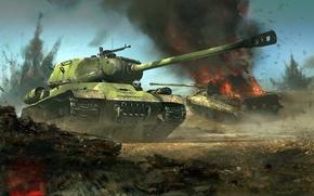 Обои Panzerkampfwagen VI Ausf. B H, немецкий тяжёлый танк, Königstiger, Короле́вский тигр, советский тяжёлый танк, ИС-2, ...