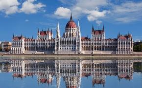 Картинка вода, озеро, отражение, здание, парламент, будапешт, венгрия