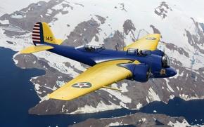 Картинка самолет, арт, мартин, martin, США, бомбардировщик, ВВС, средний, WW2., небе, 139, B-10B
