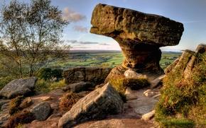 Картинка небо, трава, пейзаж, дерево, камень, англия, горизонт, england, north yorkshire