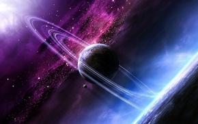 Картинка туманность, планеты, кольца