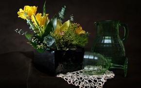 Картинка цветы, бокал, букет, кувшин, натюрморт