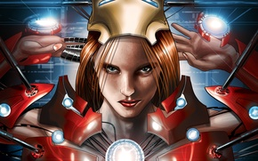 Картинка взгляд, девушка, лицо, губы, веснушки, рыжая, girl, рыжеволосая, ухмылка, Iron Man, комикс, марвел, Marvel Comics, …