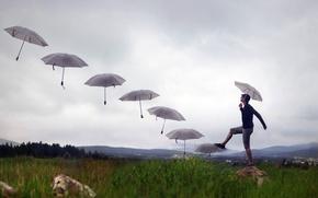 Картинка ступени, зонты, парень