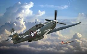 Картинка WW2., 1984г., радиуса, арт, самолет, ВВС, действия, 1942г., одноместный, дальнего, эксплуатация, North American, истребитель, американский, ...