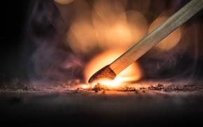 Обои пламя, спичка, селитра, воспламенение, огонь