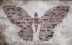 Обои стена, бабочка, крылья, слова