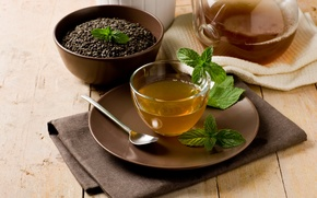 Обои чай, чашка, мята, заварник