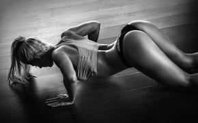 Обои fitness, model, workout, pushups, pose, blonde