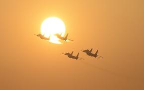 Обои солнце, полет, истребители, Flanker, Су-27