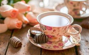 Картинка цветы, чай, конфеты