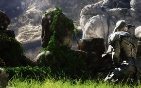 Картинка цветы, горы, камни, чаша, воин, рыцарь, кубок, доспех, рендер, лианы