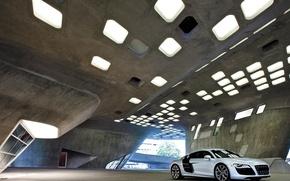 Обои Audi R8, Гараж, Архитектура, Здание