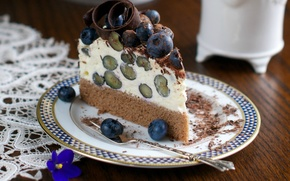 Обои цветы, кусочек торта, широкоэкранные, HD wallpapers, обои, тортик, черника, полноэкранные, background, fullscreen, широкоформатные, цветочки, фон, ...