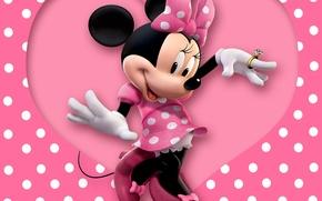 Обои heart, pink, cartoon, disney, mouse, polka dots, minnie