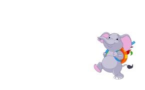 Картинка настроение, арт, рюкзак, слоник, детская, школьник