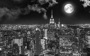 Картинка city, город, луна, Нью-Йорк, moon, New York