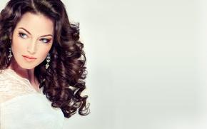 Картинка лицо, стиль, фон, модель, волосы, Девушка, серьги, причёска, fashion, beauty, make up