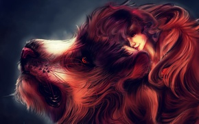 Картинка девушка, лев, фэнтези, by liark2z