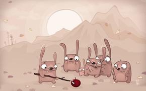 Обои яблоко, страх, глаза, ситуация, палка, зайцы
