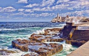 Картинка море, волны, небо, облака, маяк, ступени, крепость, Куба, мыс
