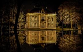 Картинка ночь, огни, озеро, дом, парк, Германия, Мекленбург-Передняя Померания, Виттенбург