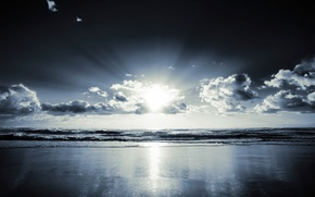 Картинка море, солнце, облака