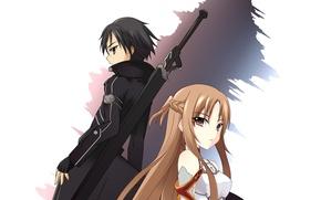 Картинка девушка, anime, sword art online, yuuki asuna, kirito, sao, kirigaya kazuto