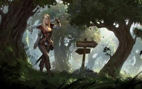 Картинка лес, девушка, деревья, оружие, стрелки, меч, арт, указатели