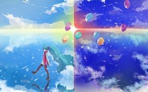 Картинка небо, вода, девушка, солнце, звезды, облака, шарики, отражение, аниме, арт, vocaloid, hatsune miku