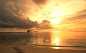 Обои море, облака, закат, Шезлонг