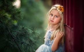Обои платье, ветка, взгляд, девочка
