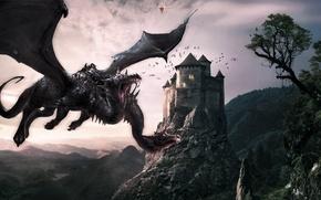 Картинка пейзаж, горы, Дракон, Замок, Dragon, castle, Dragon's Prophet