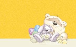Картинка праздник, арт, мишка, Пасха, зайчик, Easter, детская