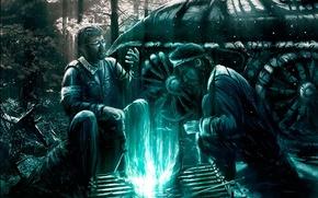 Обои рисунок, зеленый, люди, костер, огонь