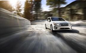 Обои зима, солнце, скорость, Subaru, Impreza