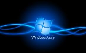 Картинка Windows, черный фон, синий эффект, azure
