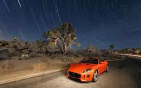 Картинка Jaguar, Небо, Авто, Дорога, Звезды, Пустыня, Оранжевый, F-Type, V8S