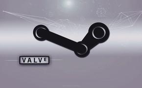 Картинка фон, обои, рабочий стол, wallpaper, logo, steam, games, valve, Hi-tech, geometric, скачать