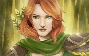Картинка взгляд, девушка, лицо, лучница, арт, рыжая, dota 2, windrunner
