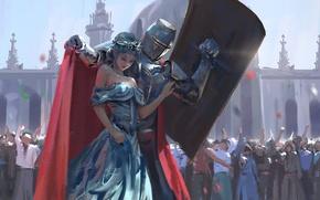 Картинка девушка, эльф, толпа, доспехи, корона, арт, щит, рыцарь, wlop