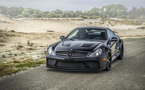 Картинка дорога, чёрный, тюнинг, автомобиль, кузов, Mercedes-Benz SL, спортивный, лёгкий, классический родстер, Мерседе́с-Бенц СЛ, двухдверный кабриолет