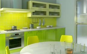 Картинка желтый, яркий, дизайн, зеленый, стиль, стол, комната, стулья, интерьер, кухня, квартира