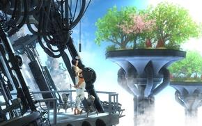 Картинка небо, туман, дерево, женщина, The last isles of nature