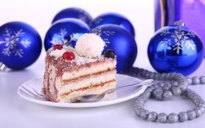 Картинка праздник, шары, торт, Новый год, синие, новогодние украшения, угощение, Дессерт