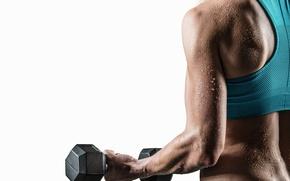 Обои fitness, sweat, dumbbell, woman