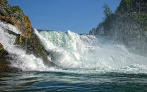 Картинка скалы, поток, Швейцария, Switzerland, Rhine Falls, Рейнский водопад